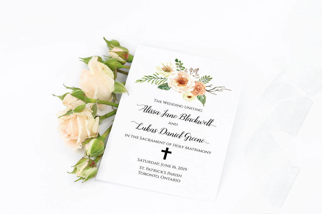 Catholic Wedding Program Template, Folded Wedding Program Booklet, Order of Events, DiY Wedding | Rustica | Edit Online in Templett