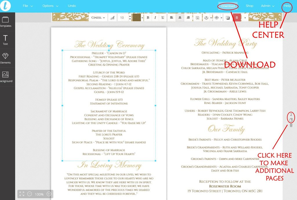 "Catholic Wedding Program Template, Fold Over Ceremony Program ""Elegance"" Gold Wedding Template, Folded Program - EDIT TEXT & COLOR Yourself"