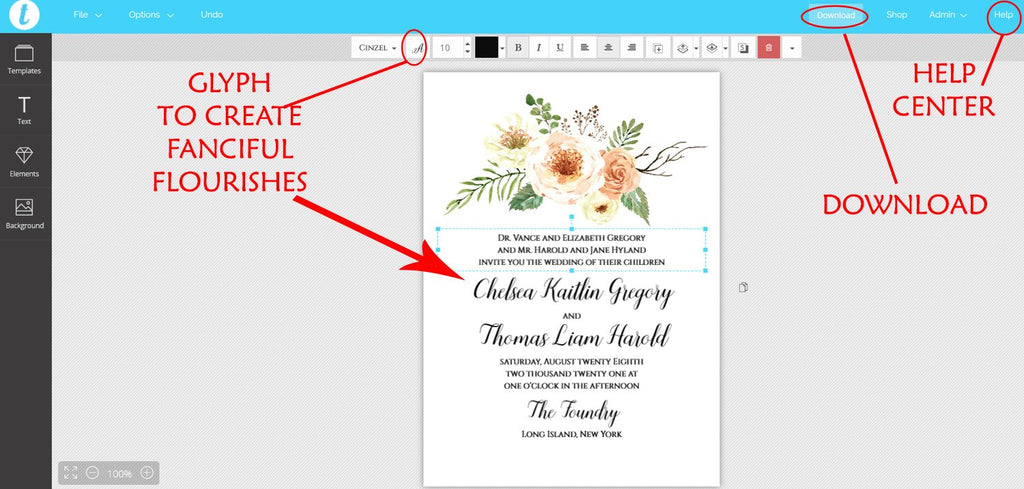 Country Wedding Invitation Template, Floral Wedding Invitation, Rustic Wedding | Edit Online - Rustica