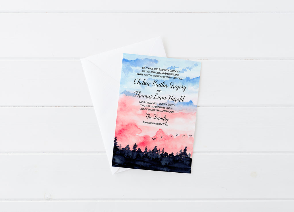 "Rustic Wedding Invitation Template ""Rustic Sunrise"" Invitation Printable, Instant Download Invitation, DiY Printable Wedding, Edit Online"
