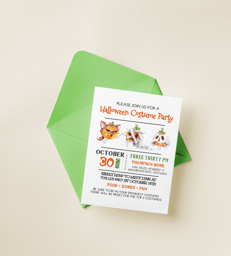 Halloween Costume Party Invitation, Halloween Party Invitation Template, Halloween Invitation Printable, Costume Pumpkins