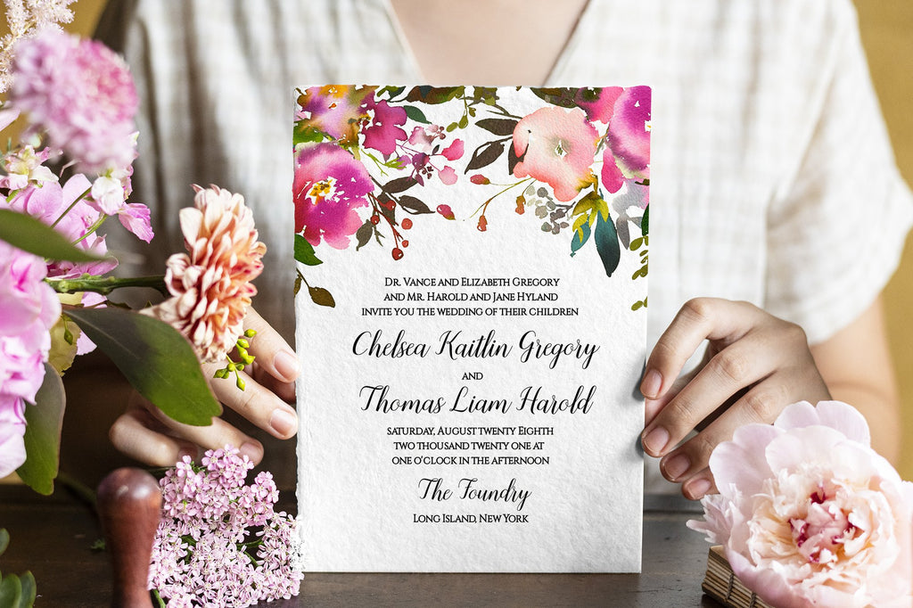 Floral Wedding Invitation Template, Watercolor Wedding Invitation, Rustic Wedding | Edit Online - Fresh Bouquet