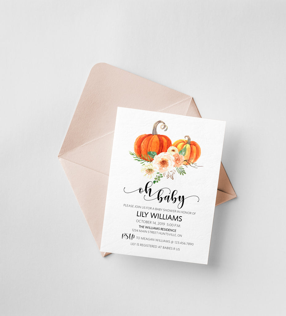 Fall Baby Shower Invitation, Oh Baby Shower Invite Template, Baby Brunch Printable Invite | Rustica Pumpkins | Edit in Templett