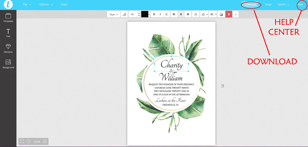 "Wedding Invitation Template RSVP ""Tropical Leaves"" Printable Invitation, DiY Printable Wedding, Instant Download, Edit Online in Templett"