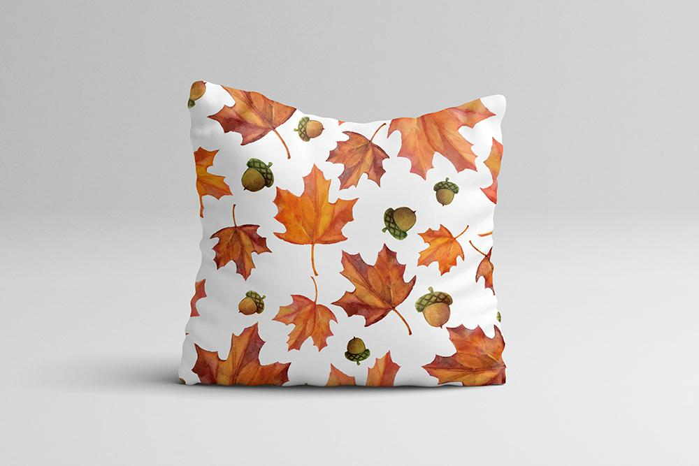 Watercolor Fall Leaves Throw Pillow Case - Rustic Throw Pillow Cover - Home Decor Cottage Decor Fall Pillow Case 16x16 | 20x20