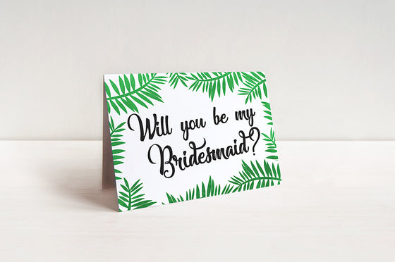 Beach Wedding Bridesmaid Proposal Card Palm Leaves