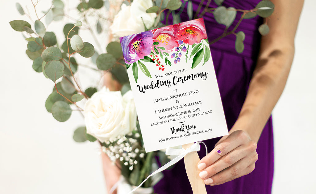Vibrant Poppy Wedding Program Fan Template