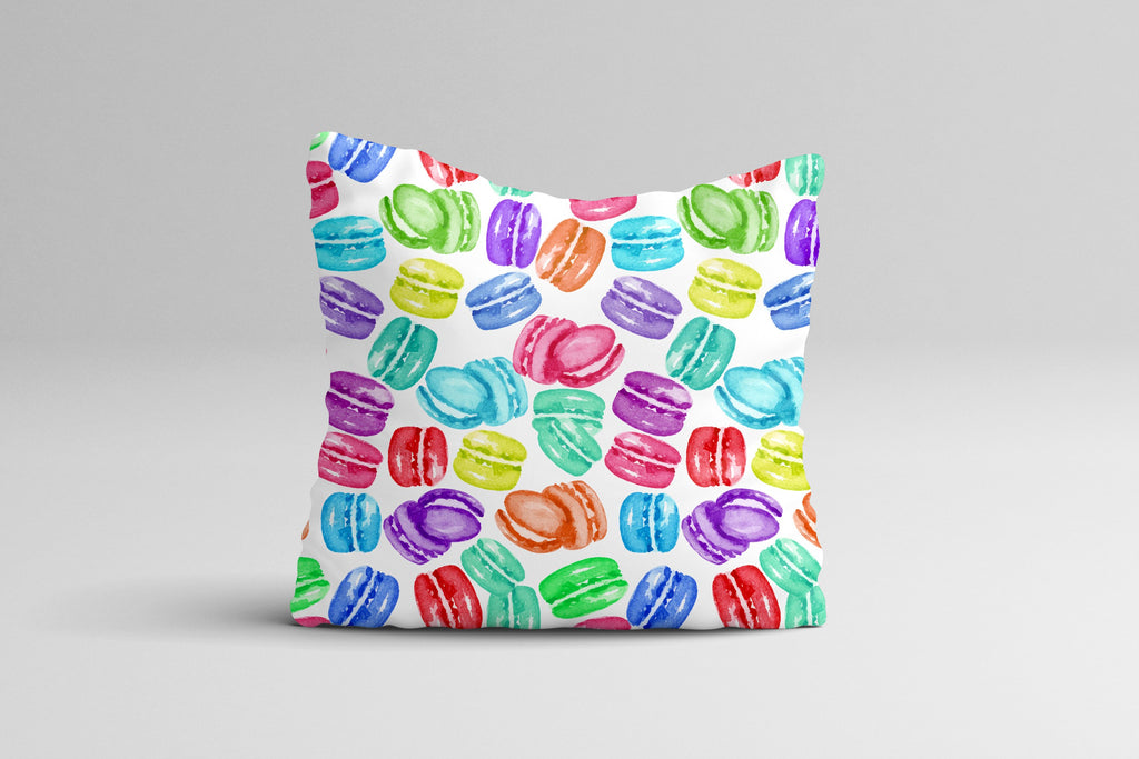 Rainbow Macaron Cookies Throw Pillow Case - Watercolor Throw Pillow Cover - Home Decor Cottage Decor Watercolor Pillow Case 16x16 | 20x20