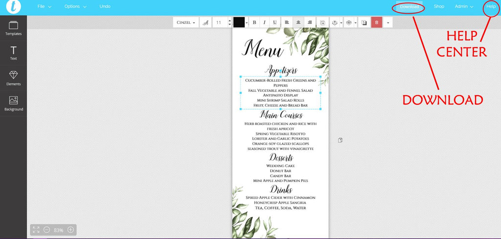 Greenery Menu Wedding Template, Napkin Insert Menu Template, Wedding Printable Template DIY Menus, Wedding Reception Menu EDIT ONLINE