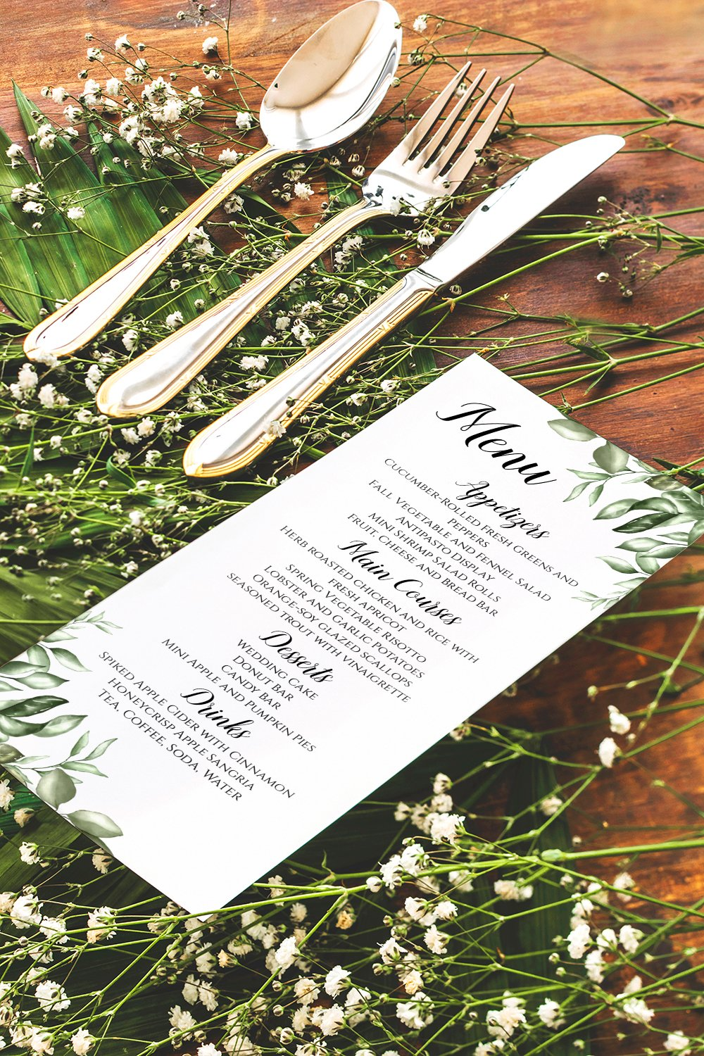 Greenery Wedding Menu Template Paint The Day Designs
