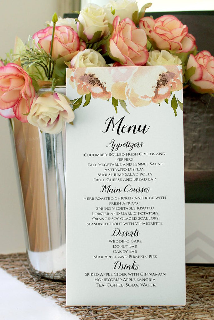 Peony Menu Wedding Template, Napkin Insert Menu Template, Peach Peonies Wedding Printable Template Menu, Wedding Reception Menu EDIT ONLINE