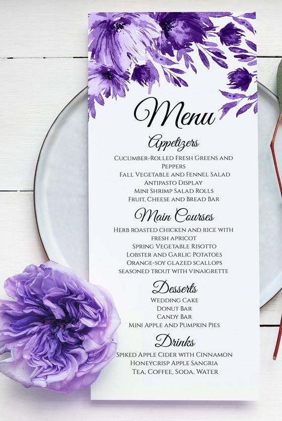"Purple Wedding Menu Template, Wedding Printable Template, ""Lavish Blooms"" Napkin Insert Menu Printable, Wedding Reception Menu EDIT ONLINE"