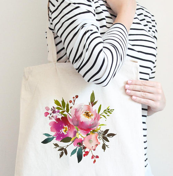 Fresh Bouquet Tote Bag | Watercolor Floral Tote Bag | Bridesmaid Bag