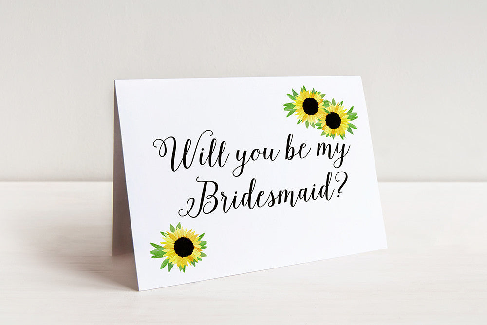 Sunflower Wedding - Bridesmaid Request Will You Be My Bridesmaid Proposal - Rustic Wedding Watercolor Wedding - Maid of Honor Gift Card