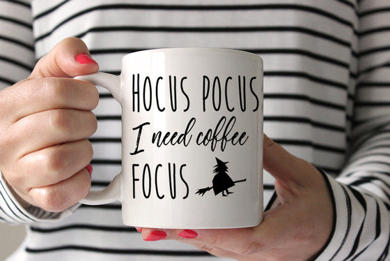 Halloween Coffee Mug Witch Mug, Hocus Pocus I Need Coffee to Focus Mug, Funny Mug Gift, Halloween Mug, Ceramic Mug Coffee Lover Gift