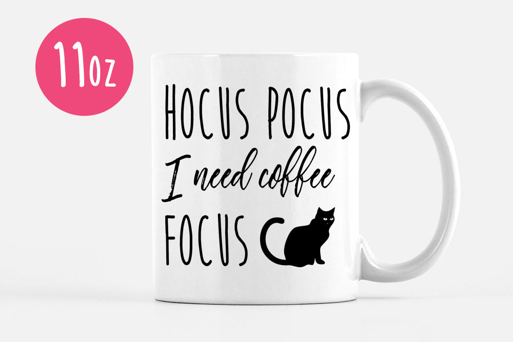 Halloween Mug Black Cat Mug Hocus Pocus I Need Coffee to Focus Mug, Funny Mug Gift, Halloween Coffee Mug, Ceramic Mug Coffee Lover Gift