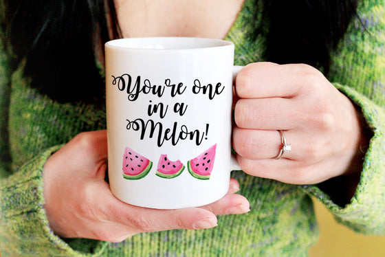 """You're one in a Melon"" Mug - Watercolor Watermelon"