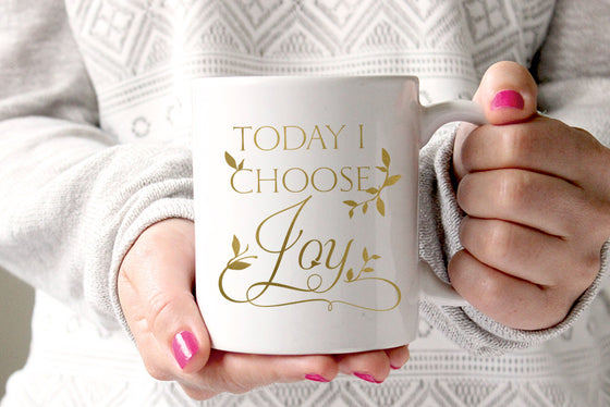 "Gold Foil Mug ""Today I Choose Joy"" Mug - Inspirational Gift Mug Quote Mug - Gold Leaf Gift for Her Coffee Mug - Mother's Day Mug Typography"