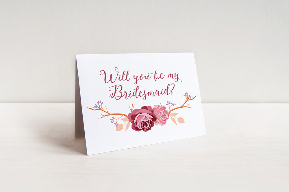 Will You Be My Bridesmaid Proposal - Bridesmaid Request Rustic Wedding Card - Maid of Honor Card - Bridesmaid Gift - Rose Branch Shabby Chic