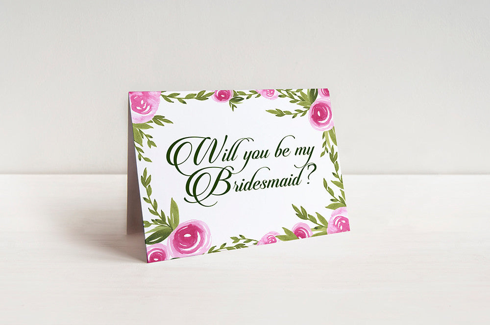 Watercolor Floral Bridesmaid Proposal Card
