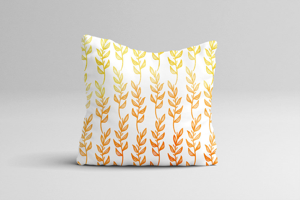 Throw Pillow Case - Abstract Leaves Ombre Watercolor Throw Pillow Cover - Fall Home Decor Cottage Decor - Watercolor Pillow Case 16x16 20x20