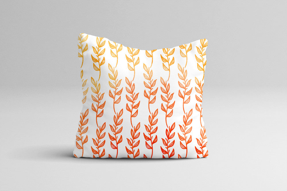 Watercolor Throw Pillow Cover - Abstract Leaves Ombre Pillow Case - Fall Home Decor Cottage Decor - Watercolor Throw Pillow Case 16x16 20x20