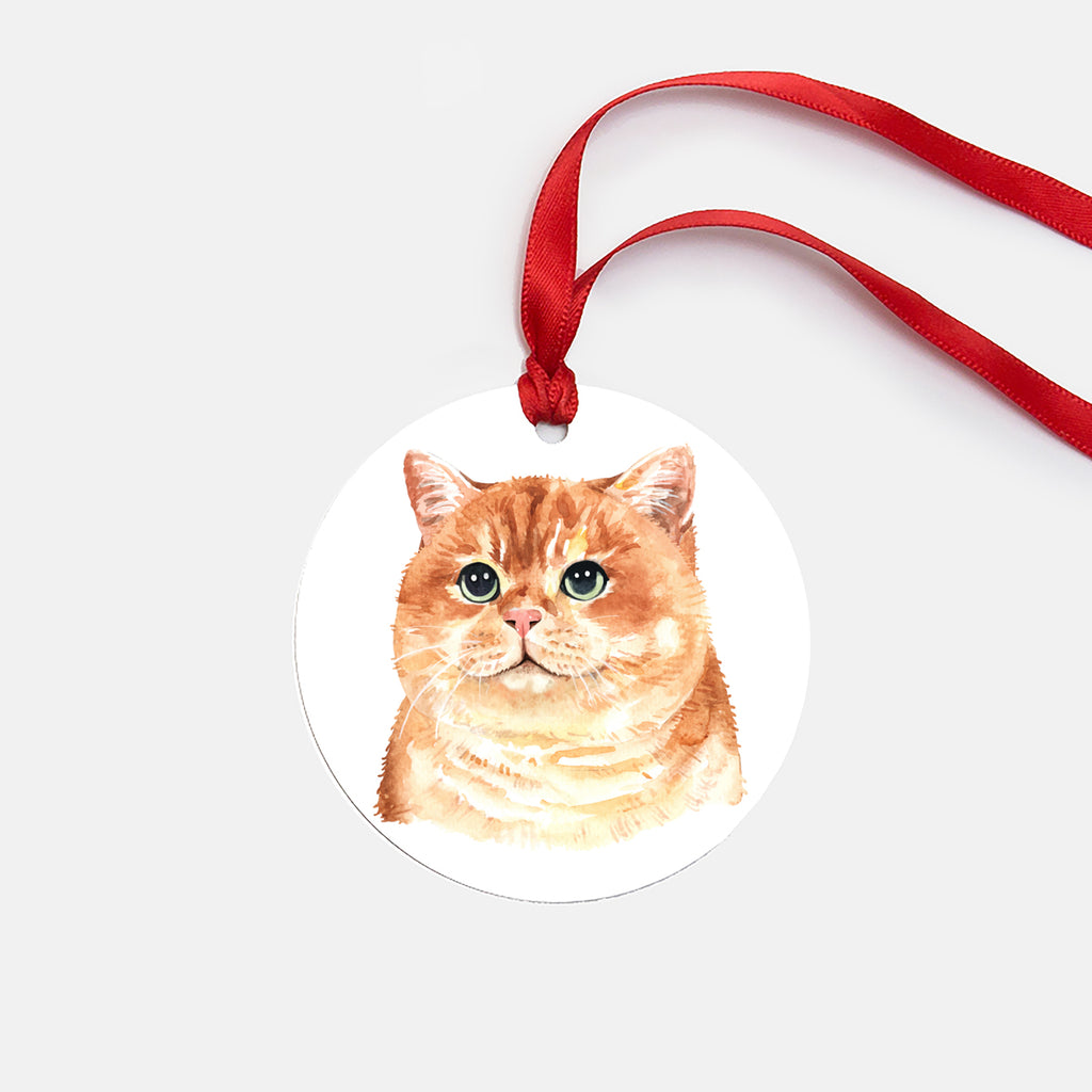 Orange Cat Ornament (Round), Cat Christmas Ornament, Cat Lover