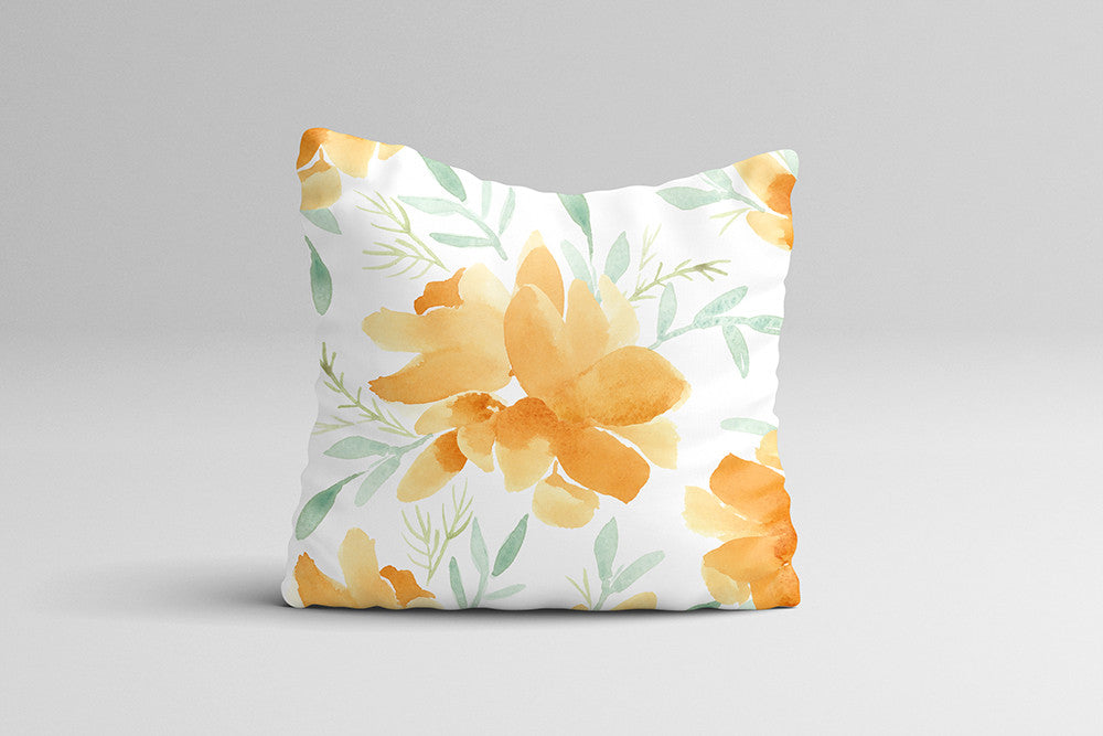 Orange Magnolia - Watercolor Throw Pillow Cover