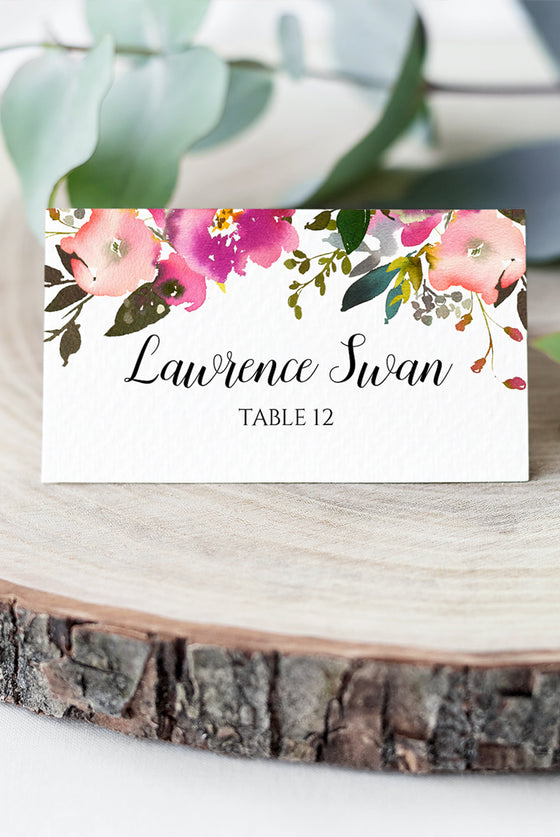 "Floral Place Card Wedding Template, Escort Card Template ""Fresh Bouquet"" Wedding Printable DIY Place Cards, Fold Over Name Cards EDIT ONLINE"