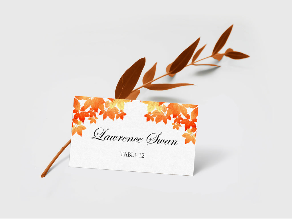 Fall Wedding Place Card Template, Escort Card Template, Wedding Printable DiY Place Cards, Folded Name Cards | Fall Leaves | EDIT Online