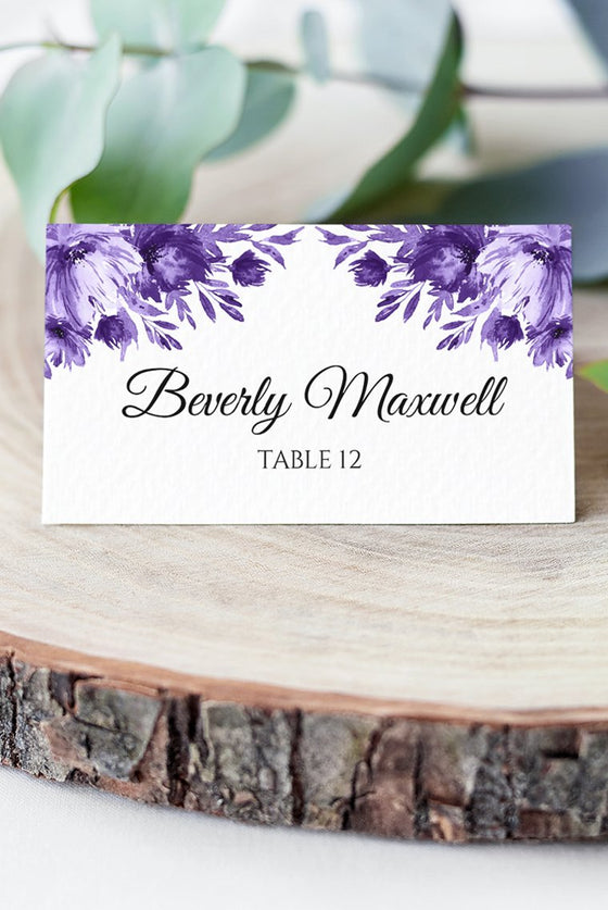 "Purple Place Card Wedding Template, Escort Card Template ""Lavish Blooms"" Wedding Printable DIY Place Cards, Fold Over Name Cards EDIT ONLINE"