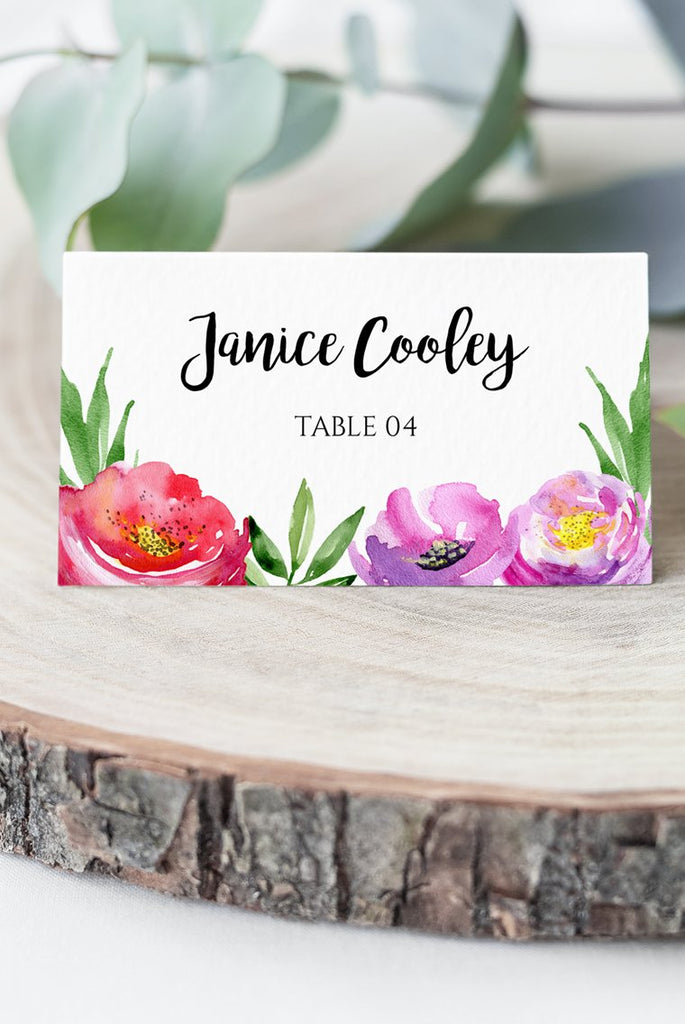 "Place Card Wedding Template, Escort Card Template ""Vibrant Poppy"" Wedding Printable Template DIY Place Cards, Tent Name Cards EDIT ONLINE"