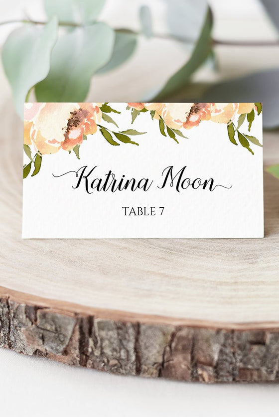 Peony Place Card Wedding Template, Escort Card Template, Peach Peonies Wedding Printable DIY Place Cards, Fold Over Name Cards EDIT ONLINE