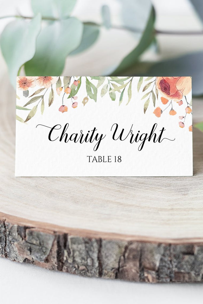 Peach Floral Place Card Wedding Template, Escort Card Template, Wedding Printable Template DIY Place Cards, Fold Over Name Cards EDIT ONLINE