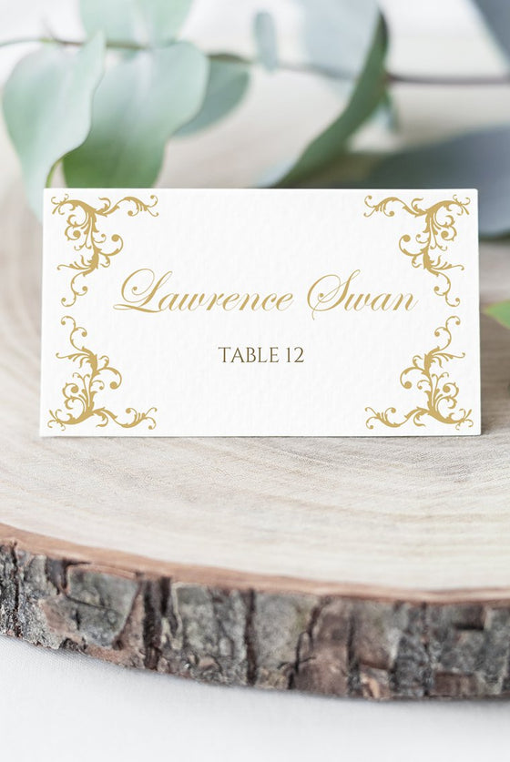 Place Card Wedding Template, Escort Card Template, Wedding Printable DiY Place Cards, Folded Name Cards | Diana | EDIT COLOR Yourself