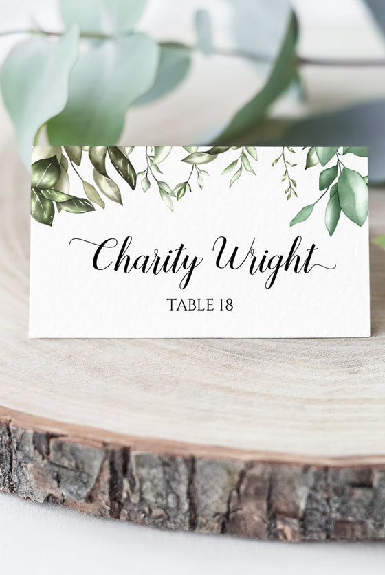 Greenery Place Card Wedding Template, Escort Card Template, Wedding Printable Template DIY Place Cards, Fold Over Name Cards EDIT ONLINE