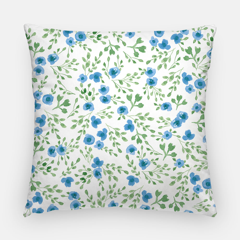 "Throw Pillow Case - Watercolor Throw Pillow Cover - Home Decor Cottage Decor ""Prairie Flowers"" Blue Green Watercolor Pillow Case 16x16 