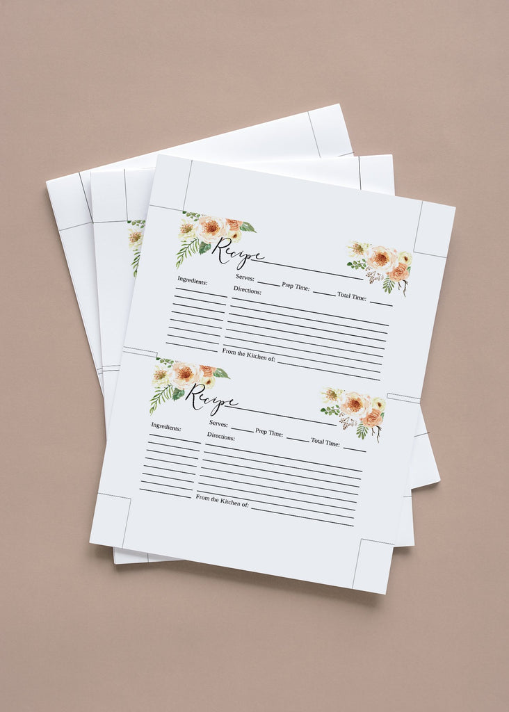 "Bridal Shower Recipe Card, Floral Recipe Card Printable, Rustic Bridal Shower Gift - 4"" x 6"" Card 
