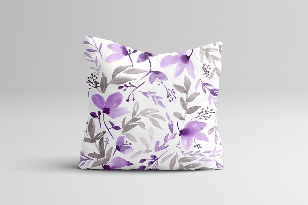 "Throw Pillow Case - Watercolor Throw Pillow Cover - Home Decor Cottage Decor Purple ""Rustic Floral"" Watercolor Pillow Case Floral 16x16 