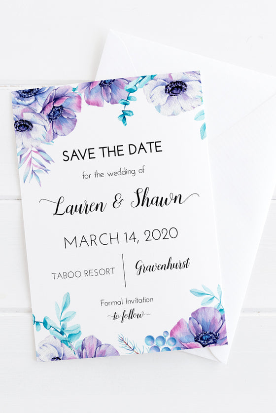 Save the Date Template, Printable Wedding Announcement DiY Printable, Watercolor Anemone Wedding Save the Date Card Download, Edit Online