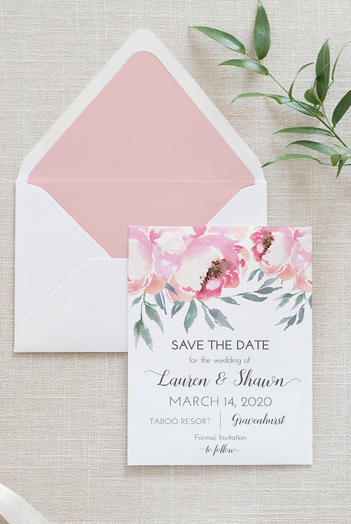 "Blush Save the Date Card Template, Wedding Announcement ""Blush Peonies"" Printable Wedding Engagement, Instant Download, Edit Online"