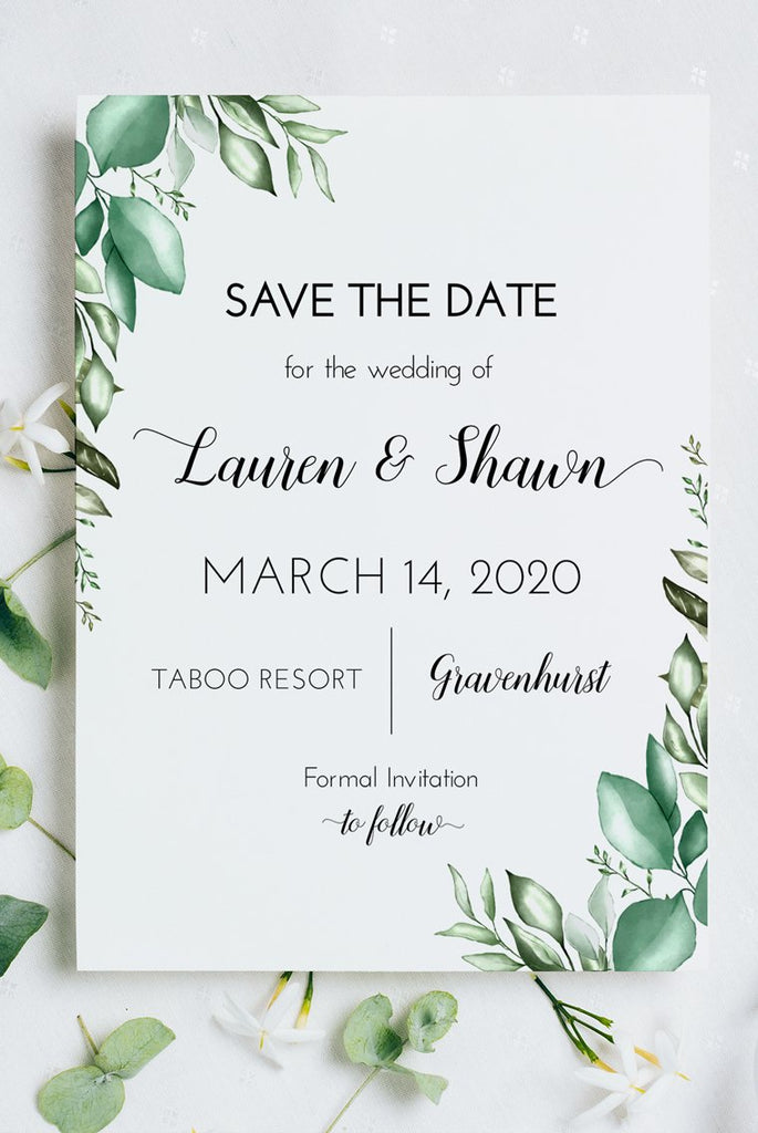 Save the Date Card Template, Greenery Wedding Announcement, Engagement Announcement, Elopement Card, Save Our Date Edit Online
