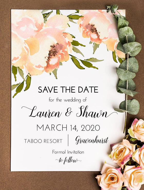 "Save the Date Card Template, Wedding Announcement Printable ""Peach Peonies"" Wedding Engagement Card, Save Our Date Elopement Card Edit Online"