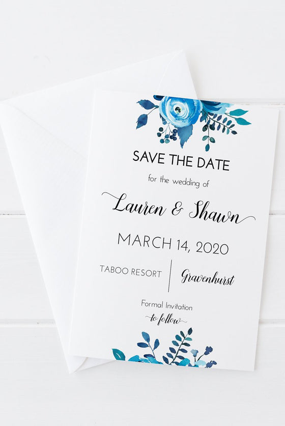 "Save the Date Template, Printable Wedding Announcement ""Blue Peonies"" Save Our Date, Wedding Engagement Card, Elopement Card, Edit Online in Templett."
