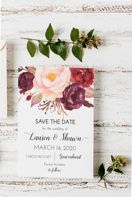 Marsala Save the Date Template