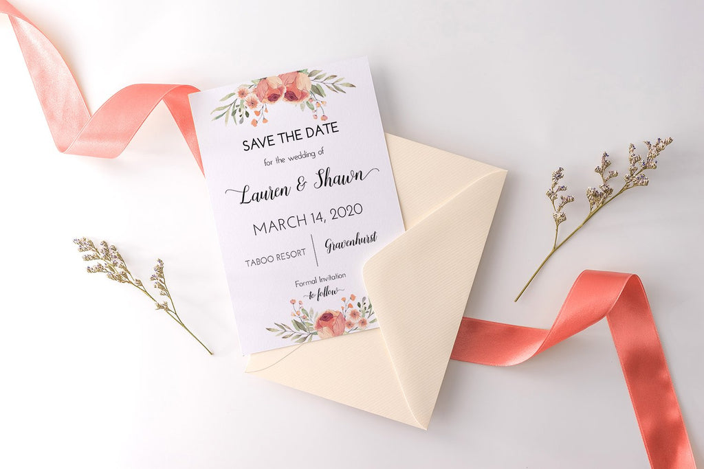"Save the Date Card Template, Printable Wedding Announcement ""Peach Floral"" Save Our Date, Wedding Engagement Card Download, Edit Online"