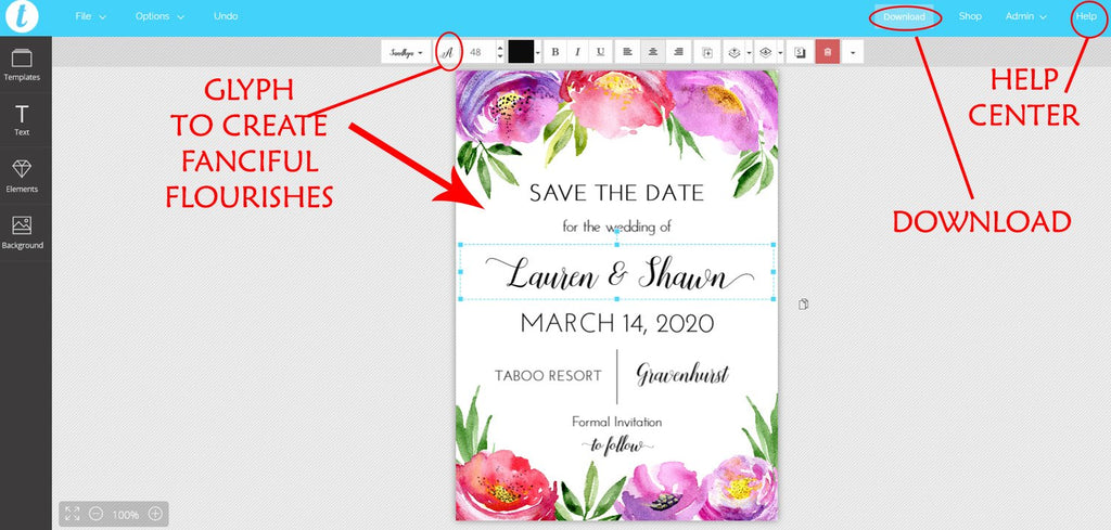"Save the Date Card Template, Printable Wedding Announcement ""Vibrant Poppy"" Printable Wedding Engagement Card, Edit Online"