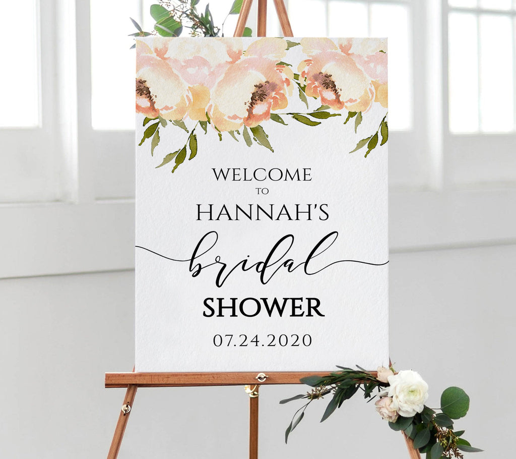 "Bridal Shower Welcome Sign Template, Printable Welcome Sign ""Peach Peonies"" Bridal Shower Printable, Bridal Shower Sign Download Edit Online"