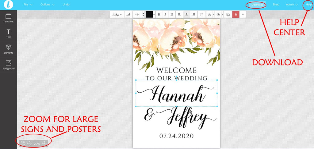 "Welcome to Our Wedding Welcome Sign Template ""Peach Peonies"" DIY Wedding Sign, Wedding Template, Prinable Wedding Sign, Edit Online"