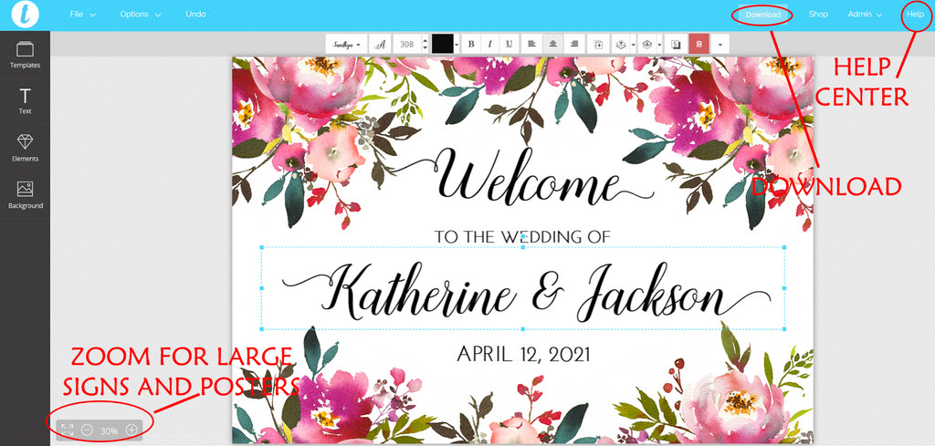 "DIY Printable Wedding Welcome Sign Template ""Fresh Bouquet"" Wedding Sign, Engagement Sign Bridal Shower, Wedding Template"